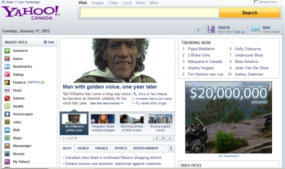 Ted Williams in Yahoo News - 2012