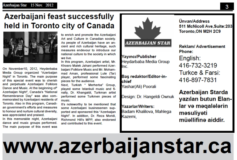 Azerbaijani feast successfully held in Toronto city of Canada