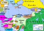 Empire of Trebizond (brown) and surrounding states in 1300