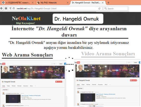 "The Turkish internet resources Information ""NeOlaKi.net"" searching systems on the name of ""Dr. Hangeldi Ownuk""."